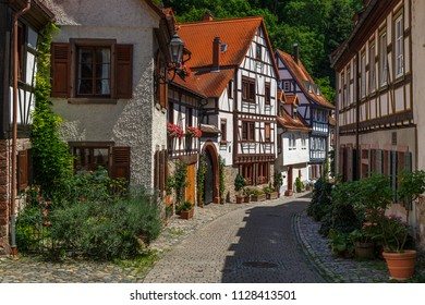 Street of the old town of Weinheim, Germany