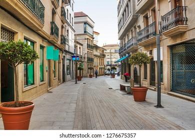 Street on the urban center of Santa Uxia de Ribeira city