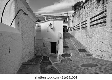 A street in Pampaneira a white village in the Alpujarras, Andalusia