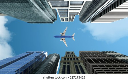 street and passenger plane in 3d