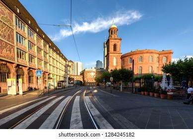 Street passing through Frankfurt city town centre