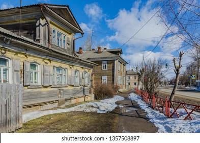 Street in Pereslavl-Zalessky, Yaroslavl region, Russia. Gold ring of Russia. Russian life. March 2019