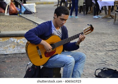 Street Performer With His Guitar - February 2017 - Cartagena, Colombia