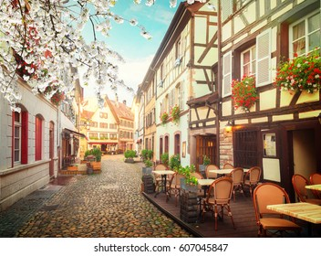 street of Petit France medieval district of Strasbourg at spring, Alsace France