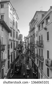 Street photography in the historic center of Vicenza. Vicenza, Veneto, Italy. April 2018