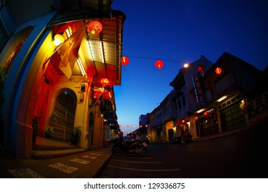 Street of Phuket town at twilight