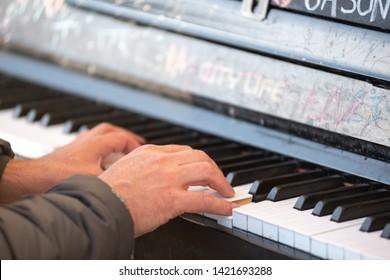 Street Piano Player in Anacortes, WA