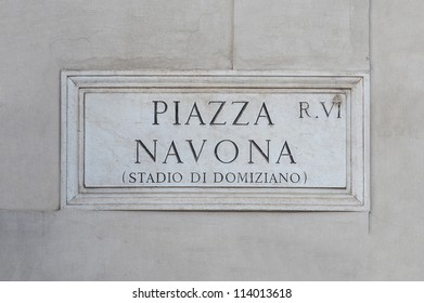 Street plate of famous Piazza Navona. Rome. Italy.