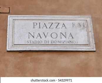 Street plate of famous Piazza Navona. Rome.  Italy. More of this motif & more Rome in my port.