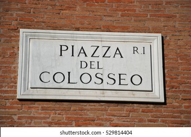 Street Plate Piazza del Colosseo in Rome