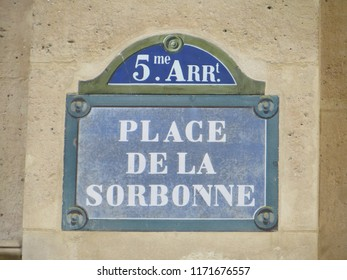 Street plate of Place de La Sorbonne (Sorbonne Square), Paris, France.