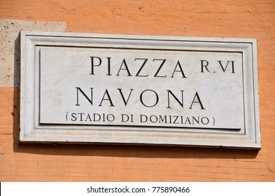 Street plate of the world famous Piazza Navona in ROme, Italy
