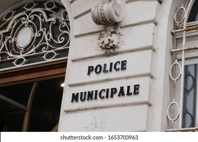 street police municipale means in french Municipal police sign of local police in old ancient building in France