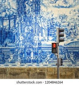 Street of Porto, decorated with blue tiles