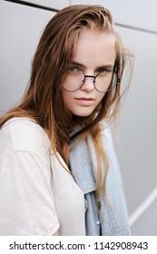 1579b09b85d7 Girl Glasses Eyes Closed Stock Photo (Edit Now) 338847530 - Shutterstock