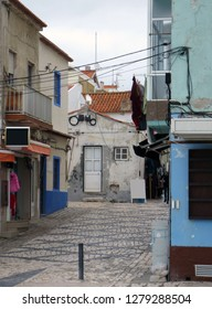 Street in portugal city Nazare.
