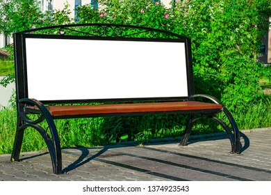Street poster on the bench, blank with white space for text, urban mock up
