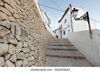 Street of the pretty village of Altea in the province of Alicante, Spain.