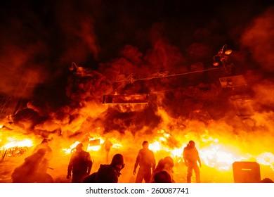 Street protests in Kiev, fire
