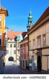 Street of Ptuj old city with Town Hall in Slovenia. Architecture in Slovenija. Travel
