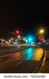Street railway at night of the Muni F Line at PIER 39, San Francisco, California.