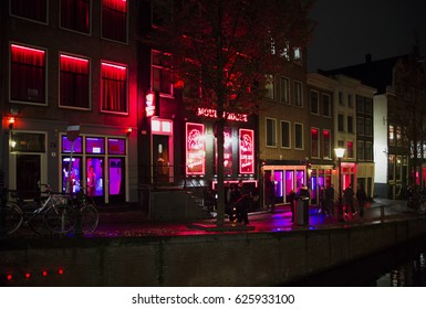 street of red lanterns is known for dresses with girls of easy virtue Amsterdam, Netherlands, Holland, November 5, 2015