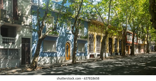 Street with residential buildings near center of Uruguayan capital, city Montevideo