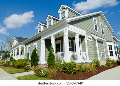 Street of residential cottage style homes