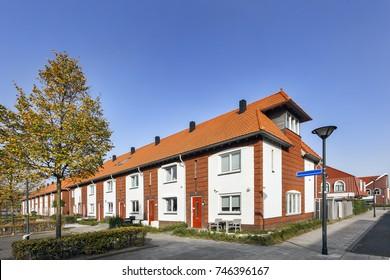 Street in a residential district Fascinatio in Capelle aan den IJssel in the Netherlands