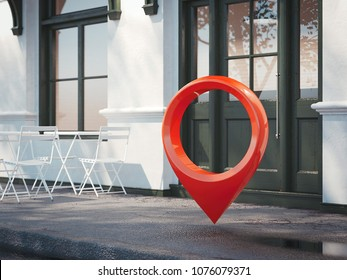 Street restaurant with white chairs, dark door and red geotag or map pin. 3d rendering