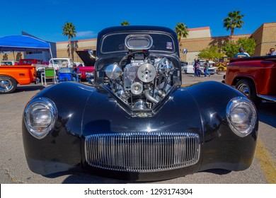 Street rod with supercharger at an El Paso Texas custom car show28 October 2017