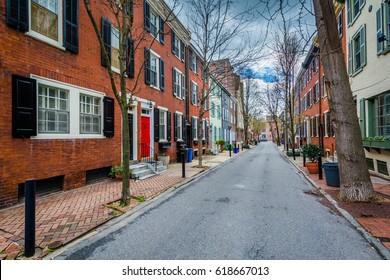 Street and row houses in Center City, Philadelphia, Pennsylvania.