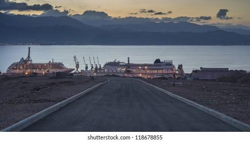 Street running to marine port, Eilat, Israel