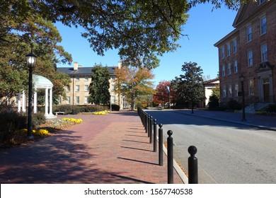 Street running through the main campus of University of North Carolina in Chapel Hill