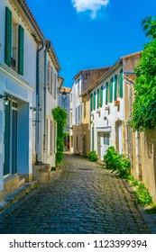 A street at Saint Martin de Re village situated on Ile de Re, France