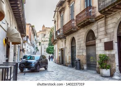 street to Église Santa Chiara de Lecce in center of Lecce, region Puglia, Italy
