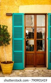 Street santanyi. Colorful facade of Mallorca. Town of Mallorca.