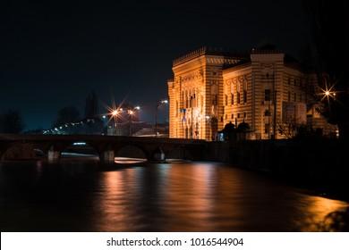 street of sarajevo at night
