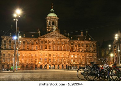Street scene in Amsterdam Holland at night