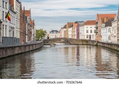 A street scene in Bruges, Belgium in summer.
