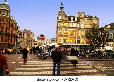 street scene in central Amsterdam, The Netherlands