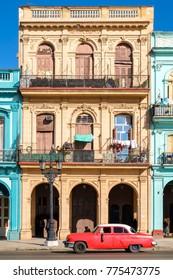 Street scene with colorful buildings in Old Havana
