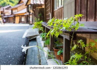 Street scene in Ohmori, a residential part of the historic Iwami Silver Mine in Shimane, Japan; this pretty area boast century-old houses and shops with simply decorated fronts like this