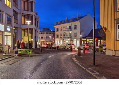 Street scene on Skolavordustigur street in downtown Reykjavik, Iceland, leading to the Hallgrimskirkja Church, one of the landmarks of the city.