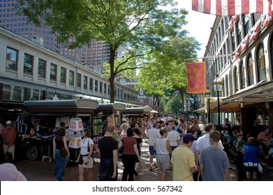 Street scene at Quincy Market  in Boston, Massachusetts with  people shopping and restaurants