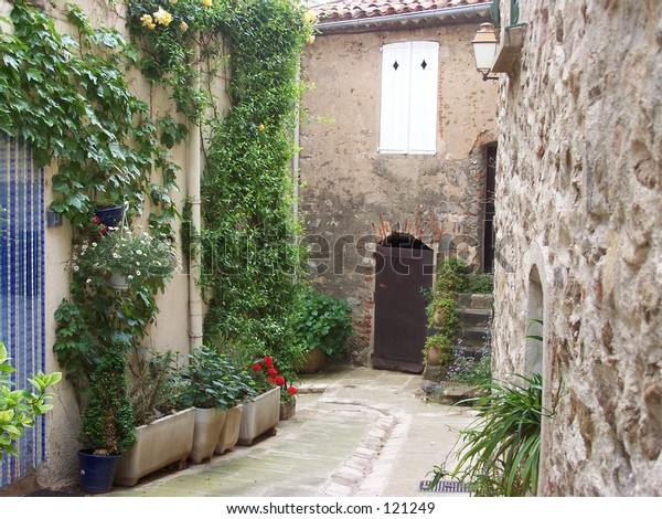 street scene in small french village - Bormes-les-Mimosas