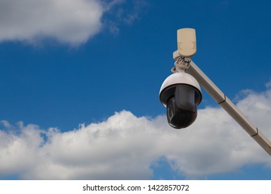Street security camera. Concept of public security, big brother continuous overseeing, monitoring