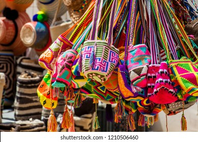 Street sell of handcrafted traditional Wayuu bags in Cartagena de Indias