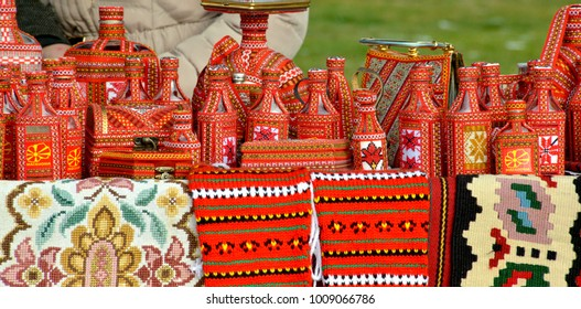 street selling of a handmade souvenirs with traditional macedonian colors in ohrid,macedonia