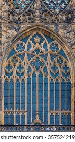 Street side view of a stained Glass window in St. Vitus Cathedral by Art Nouveau painter Alfons Mucha in Prague, Czech Republic
